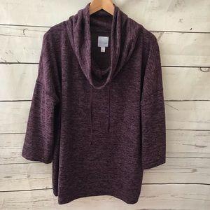 Sunday Anthro cowl back sweater XL plum
